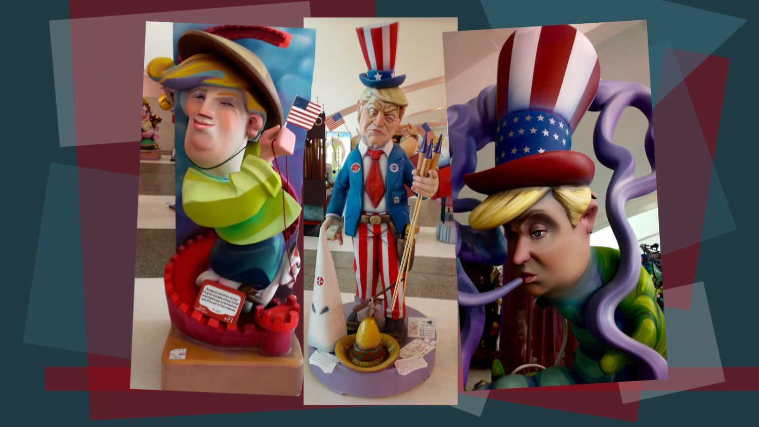 three Spanish depictions of donald trump
