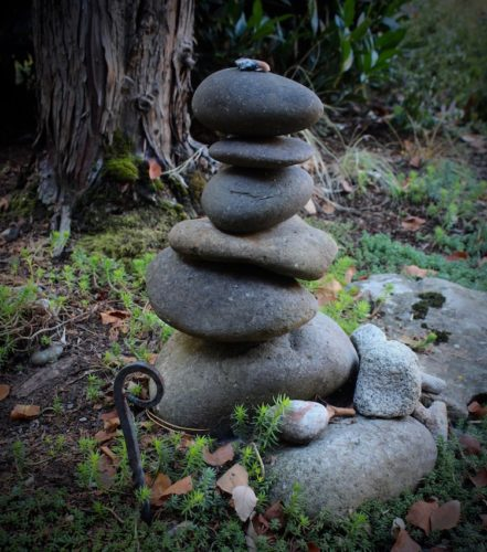 Stack of stones in a garden