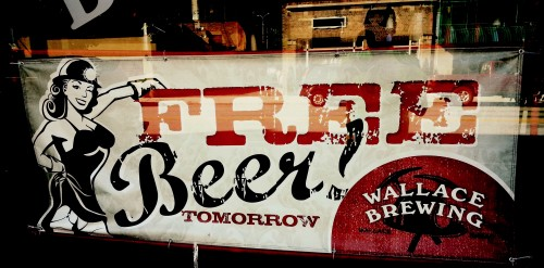 Free Beer Tomorrow Window Sign