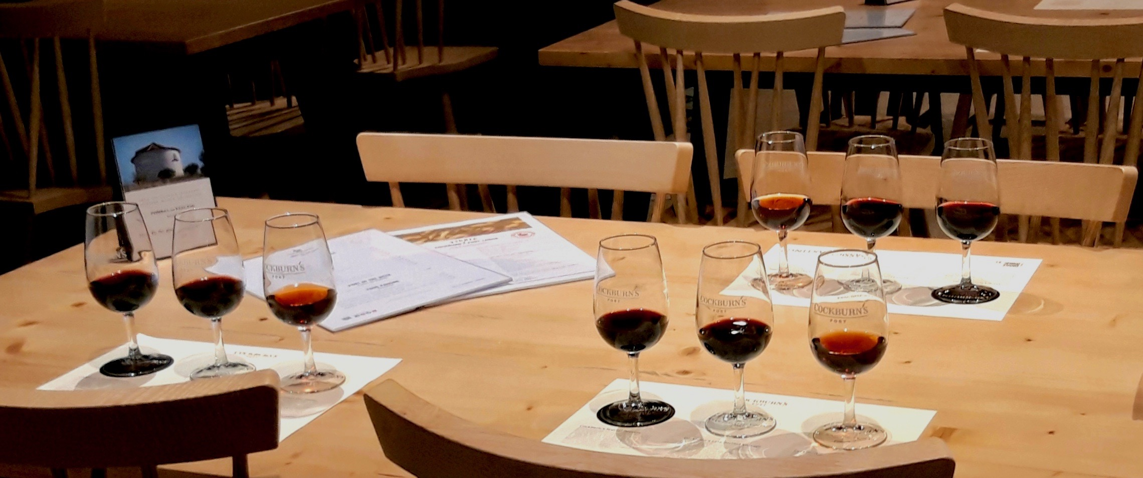 A table set with port wine tastings for three