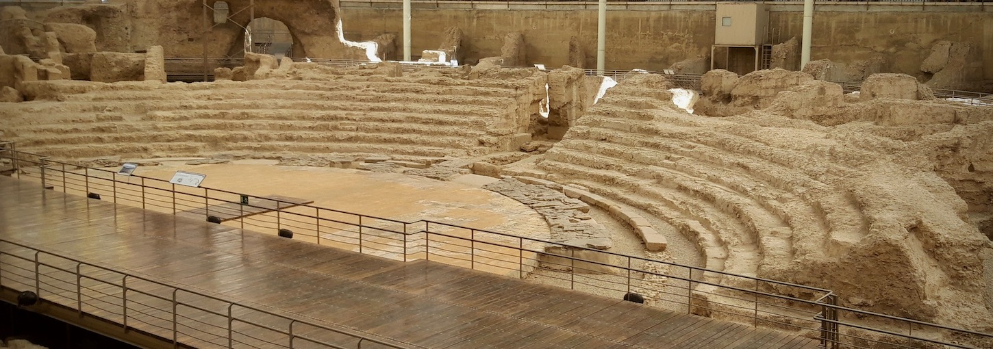 Ruins of the Roman theatre rediscoverd in 1972