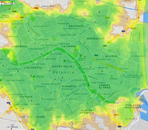 Map Showin nearly all of Valencia has a very high walkability score