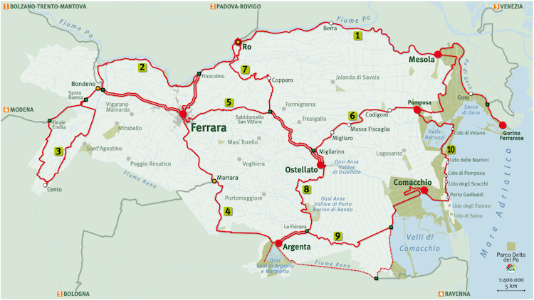 Map of Cycle Routes Near Ferrara